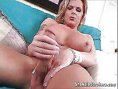amazing big tit shemale plays her big cock