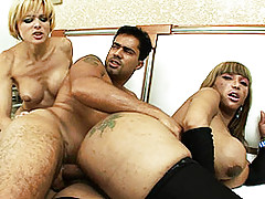 Two Super Hot Trannies Fucking A Guy