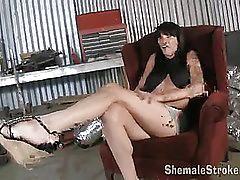 sexy American shemale is showing her tits