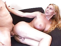 Nice shemale wants a cock in her mouth & ass before cumming