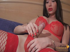 Beautiful Super-Cocked Tranny cums all over her own tits