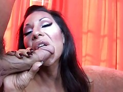 Gorgeous tranny get some hot fucking action in this video