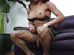 shemale Pamela is fishnets and her big uncut cock