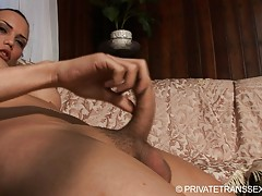 Horny transsexual jerking off her big fat juicy dick