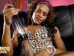Black tgirl hottie Chyna fucking a penis pump