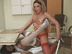 Voluptuous dick-girl prefers drilling a tight asshole of a red hot ladyboy