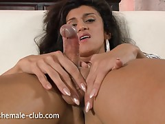 Sexy tgirl Amanda stroking off her rock hard cock