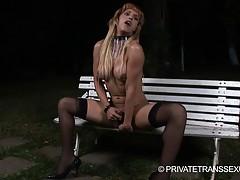 Pretty tgirl Adrielly jerking off her juicy dick