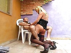 Michele shemale pantyhosefucked on video