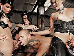 shemale domme trio and their man slave