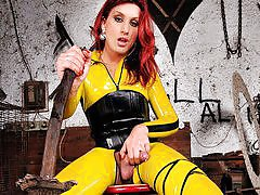 Jump into a real live comic book as you watch Joy Spears in her tight yellow latex