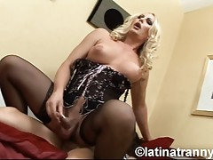 Busty tgirl Alison riding Nikki's juicy hard cock