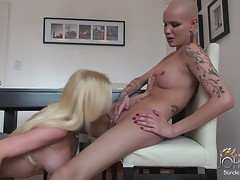 Bald tranny Blondie Johnson wanking off and mistreating her big cock