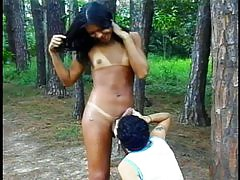 Luscious shemale slut gets raunchy outdoors