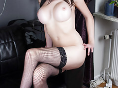 Hot brunette shemale in lace lingerie