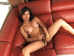 Adorable Carmen Moore masturbating on the couch
