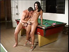 T-girl bitch fucked on top of billiard table
