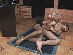 Lascivious shemale in lacy pantyhose shoving her sword into tight asshole