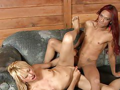Awesome blonde babe kneels down for hardcore screwing with a fiery ladyboy