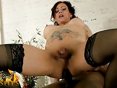 Gorgeous Jasmine riding a black rock hard dick