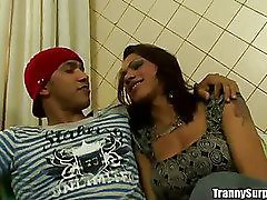 Banging hot tranny gets her mouth fucked anal fucked and cumfaced HD